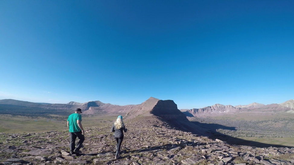 Brown and Loyola hunt for the VALO Grand light on a mountain of loose shale.